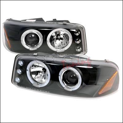 Headlights & Tail Lights - Headlights - Spec-D - GMC Denali Spec-D Halo LED Projector Headlights - Black - 2LHP-DEN00JM-TM