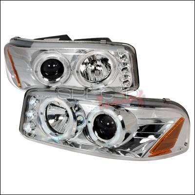 Headlights & Tail Lights - Headlights - Spec-D - GMC Denali Spec-D Halo LED Projector Headlights - Chrome - 2LHP-DEN00-TM