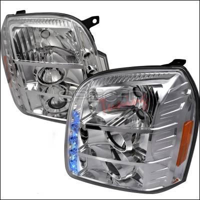 Headlights & Tail Lights - Headlights - Spec-D - GMC Yukon Spec-D Halo LED Projector Headlights - Chrome - 2LHP-DEN07-TM