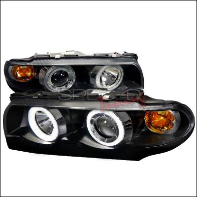 Headlights & Tail Lights - Headlights - Spec-D - BMW 7 Series Spec-D Projector Headlights - Black Housing - Day Light Ring - 2LHP-E3895JM-DL-APC