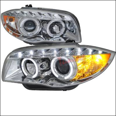 Headlights & Tail Lights - Headlights - Spec-D - BMW 1 Series Spec-D Projector Headlights - Chrome - 2LHP-E8708-TM