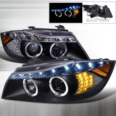 Headlights & Tail Lights - Headlights - Spec-D - BMW 3 Series 4DR Spec-D R8 Style Projector Headlight Gloss - Black Housing - Black Lens - 2LHP-E9005JM-8V2-TM