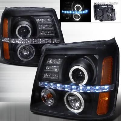 Headlights & Tail Lights - Headlights - Spec-D - Cadillac Escalade Spec-D Projector Headlights - Black Housing - 2LHP-ECLD02JM-RS