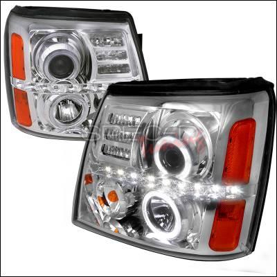 Headlights & Tail Lights - Headlights - Spec-D - Cadillac Escalade Spec-D Projector Headlights - Chrome Housing - 2LHP-ECLD02-RS
