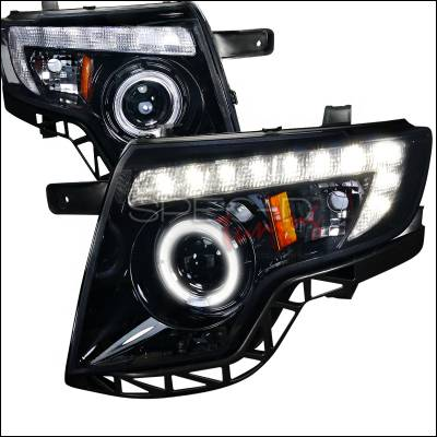 Headlights & Tail Lights - Headlights - Spec-D - Ford Edge Spec-D Black Housing Projector Headlights - Smoked Lens Gloss - 2LHP-EDG07G-TM