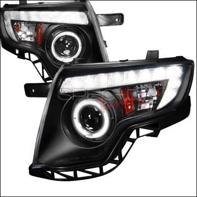 Headlights & Tail Lights - Headlights - Spec-D - Ford Edge Spec-D Projector Headlights - Black Housing - 2LHP-EDG07JM-TM