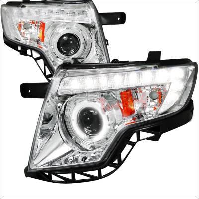 Headlights & Tail Lights - Headlights - Spec-D - Ford Edge Spec-D Projector Headlights - Chrome Housing - 2LHP-EDG07-TM