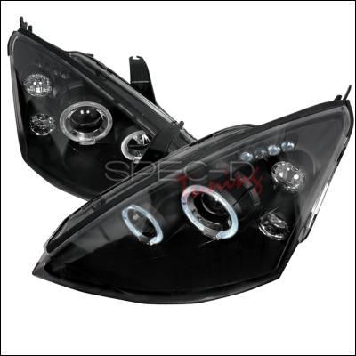 Headlights & Tail Lights - Headlights - Spec-D - Ford Focus Spec-D Halo LED Projector Headlights - Black - 2LHP-FOC00JM-TM