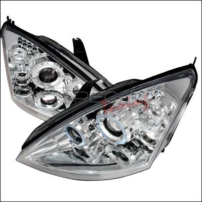 Headlights & Tail Lights - Headlights - Spec-D - Ford Focus Spec-D Halo LED Projector Headlights - Chrome - 2LHP-FOC00-TM