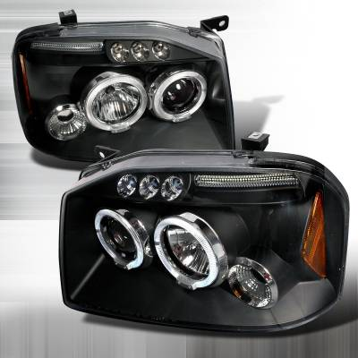 Headlights & Tail Lights - Headlights - Spec-D - Nissan Frontier Spec-D Halo LED Projector Headlights - Black - 2LHP-FRO01JM-TM