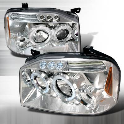 Headlights & Tail Lights - Headlights - Spec-D - Nissan Frontier Spec-D Halo LED Projector Headlights - Chrome - 2LHP-FRO01-TM