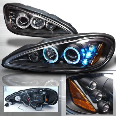 Headlights & Tail Lights - Headlights - Spec-D - Pontiac Grand Am Spec-D Halo LED Projector Headlights - Black - 2LHP-GAM99JM-TM