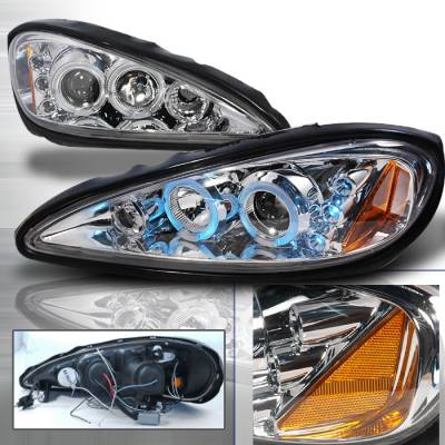 Headlights & Tail Lights - Headlights - Spec-D - Pontiac Grand Am Spec-D Halo LED Projector Headlights - Chrome - 2LHP-GAM99-TM