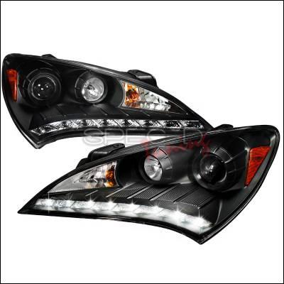Headlights & Tail Lights - Headlights - Spec-D - Hyundai Genesis Spec-D LED Projector Headlights - Black Housing - 2LHP-GENS210JM-V2-TM