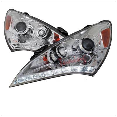 Headlights & Tail Lights - Headlights - Spec-D - Hyundai Genesis Spec-D LED Projector Headlights - Chrome Housing - 2LHP-GENS210-TM