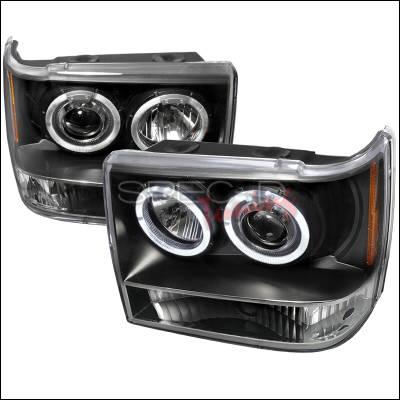 Headlights & Tail Lights - Headlights - Spec-D - Jeep Grand Cherokee Spec-D Halo LED Projector Headlights - Black - 2LHP-GKEE93JM-TM