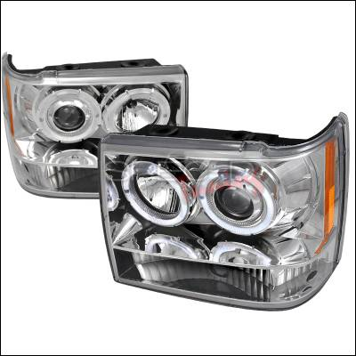 Headlights & Tail Lights - Headlights - Spec-D - Jeep Grand Cherokee Spec-D Halo LED Projector Headlights - Chrome - 2LHP-GKEE93-TM