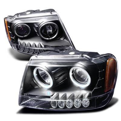 Headlights & Tail Lights - Headlights - Spec-D - Jeep Grand Cherokee Spec-D Halo Projector Headlights - Black - 2LHP-GKEE99JM-KS