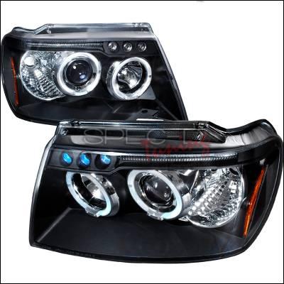 Headlights & Tail Lights - Headlights - Spec-D - Jeep Grand Cherokee Spec-D Halo LED Projector Headlights - Black - 2LHP-GKEE99JM-TM