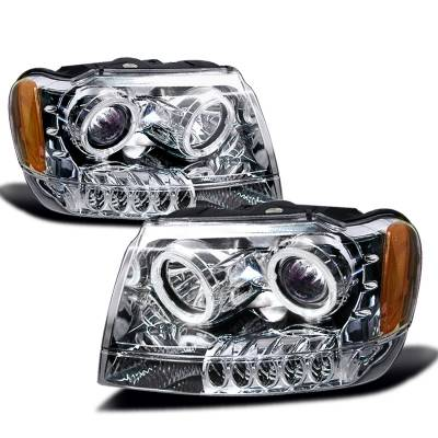 Headlights & Tail Lights - Headlights - Spec-D - Jeep Grand Cherokee Spec-D Halo Projector Headlights - Chrome - 2LHP-GKEE99-KS