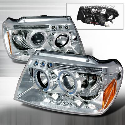 Headlights & Tail Lights - Headlights - Spec-D - Jeep Grand Cherokee Spec-D Halo LED Projector Headlights - Chrome - 2LHP-GKEE99-TM