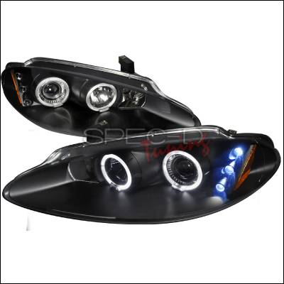 Headlights & Tail Lights - Headlights - Spec-D - Dodge Intrepid Spec-D Halo LED Projector Headlights - Black - 2LHP-ITRE98JM-TM