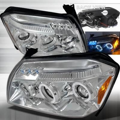 Headlights & Tail Lights - Headlights - Spec-D - Dodge Magnum Spec-D Halo LED Projector Headlights - Chrome - 2LHP-MAG05-TM