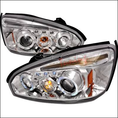 Headlights & Tail Lights - Headlights - Spec-D - Chevrolet Malibu Spec-D Halo LED Projector Headlights - Chrome - 2LHP-MBU04-TM