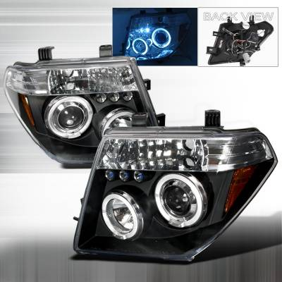 Headlights & Tail Lights - Headlights - Spec-D - Nissan Frontier Spec-D Halo LED Projector Headlights - Black - 2LHP-PATH05JM-TM