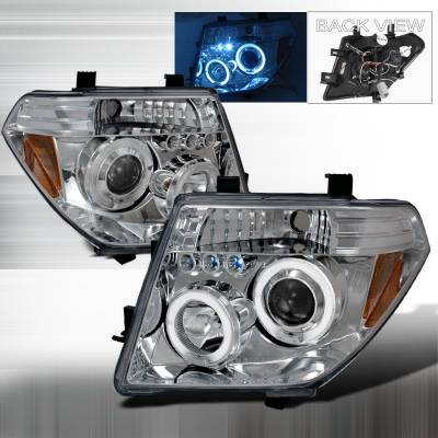 Headlights & Tail Lights - Headlights - Spec-D - Nissan Frontier Spec-D Halo LED Projector Headlights - Chrome - 2LHP-PATH05-TM