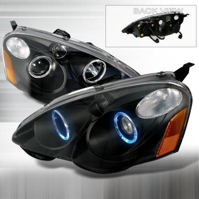 Headlights & Tail Lights - Headlights - Spec-D - Acura RSX Spec-D Halo Projector Headlights - Black - 2LHP-RSX02JM-KS