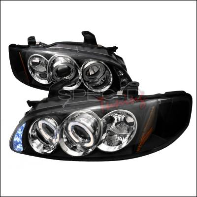 Headlights & Tail Lights - Headlights - Spec-D - Nissan Sentra Spec-D Halo LED Projector Headlights - Black - 2LHP-SEN00JM-TM