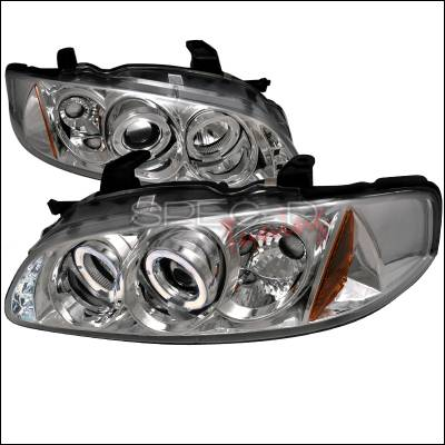 Headlights & Tail Lights - Headlights - Spec-D - Nissan Sentra Spec-D Halo LED Projector Headlights - Chrome - 2LHP-SEN00-TM