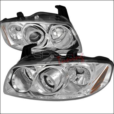 Headlights & Tail Lights - Headlights - Spec-D - Nissan Sentra Spec-D Halo LED Projector Headlights - Chrome - 2LHP-SEN04-TM