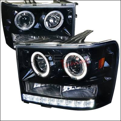 Headlights & Tail Lights - Headlights - Spec-D - GMC Sierra Spec-D Projector Headlight Gloss - Black Housing with Smoked Lens - 2LHP-SIE07G-TM