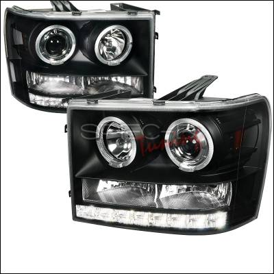 Headlights & Tail Lights - Headlights - Spec-D - GMC Sierra Spec-D Projector Headlights - Black Housing - 2LHP-SIE07JM-TM
