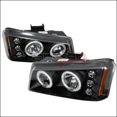 Headlights & Tail Lights - Headlights - Spec-D - Chevrolet Avalanche Spec-D Halo LED Projector Headlights - Black - 2LHP-SIV03JM-TM