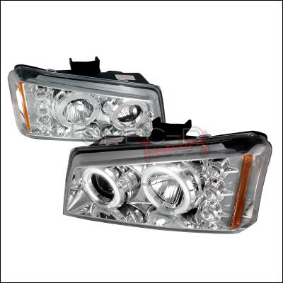 Headlights & Tail Lights - Headlights - Spec-D - Chevrolet Avalanche Spec-D Halo LED Projector Headlights - Chrome - 2LHP-SIV03-TM
