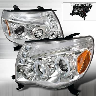 Headlights & Tail Lights - Headlights - Spec-D - Toyota Tacoma Spec-D Halo LED Projector Headlights - Chrome - 2LHP-TAC06-TM