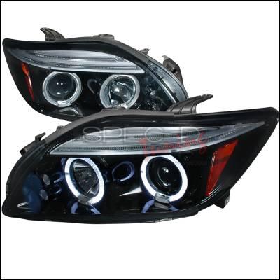 Headlights & Tail Lights - Headlights - Spec-D - Scion tC Spec-D Halo Projector Headlight Gloss - Black Housing - Smoke Lens - 2LHP-TC05G-TM
