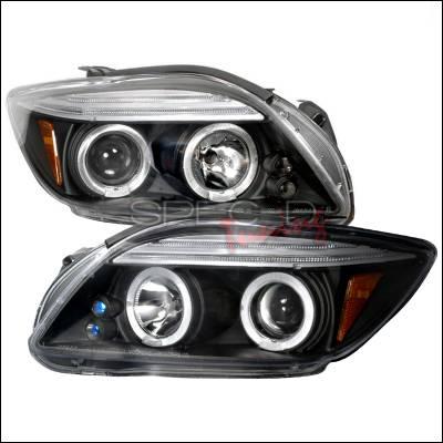 Headlights & Tail Lights - Headlights - Spec-D - Scion tC Spec-D Halo LED Projector Headlights - Black - 2LHP-TC05JM-TM