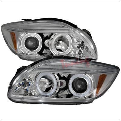 Headlights & Tail Lights - Headlights - Spec-D - Scion tC Spec-D Halo LED Projector Headlights - Chrome - 2LHP-TC05-TM