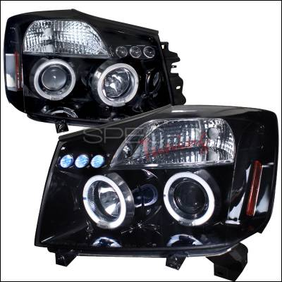 Headlights & Tail Lights - Headlights - Spec-D - Nissan Titan Spec-D Halo Projector Headlight Gloss - Black Housing - Smoke Lens - 2LHP-TIT04G-TM