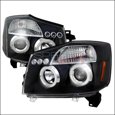 Headlights & Tail Lights - Headlights - Spec-D - Nissan Titan Spec-D Halo LED Projector Headlights - Black - 2LHP-TIT04JM-TM