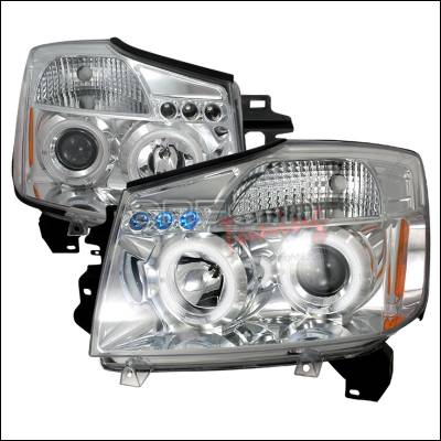 Headlights & Tail Lights - Headlights - Spec-D - Nissan Titan Spec-D Halo LED Projector Headlights - Chrome - 2LHP-TIT04-TM