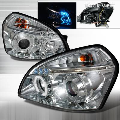 Headlights & Tail Lights - Headlights - Spec-D - Hyundai Tucson Spec-D Halo LED Projector Headlights - Chrome - 2LHP-TUC04B-TM