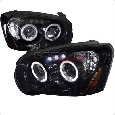 Headlights & Tail Lights - Headlights - Spec-D - Subaru Impreza Spec-D Black Housing Projector Headlights - Smoked Lens Gloss - 2LHP-WRX05G-TM