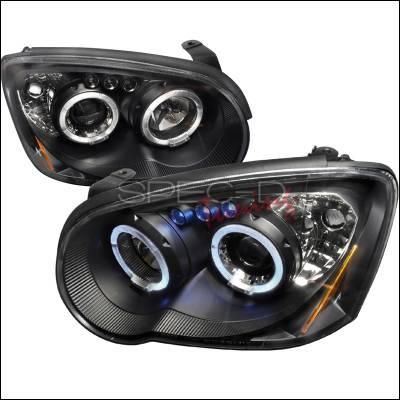 Headlights & Tail Lights - Headlights - Spec-D - Subaru Impreza Spec-D Halo LED Projector Headlights - Black - 2LHP-WRX05JM-TM