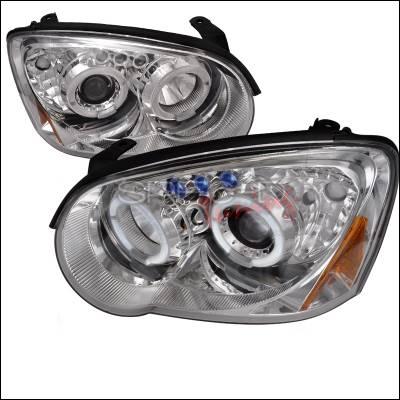 Headlights & Tail Lights - Headlights - Spec-D - Subaru Impreza Spec-D Halo LED Projector Headlights - Chrome - 2LHP-WRX05-TM