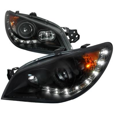 Headlights & Tail Lights - Headlights - Spec-D - Subaru Impreza Spec-D Black Projector Headlight - 2LHP-WRX06JM-TM